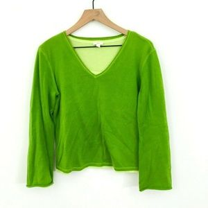 J.Jill Cotton V-Neck Green Sweater